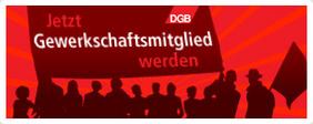 """Grafik Menschenmenge mit Fahnen und Text """"Jetzt Gewerkschaftsmitglied werden"""""""