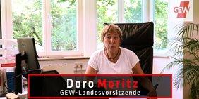 Doro Moritz, GEW-Landesvorsitzende, spricht zum Thema gute Bildung