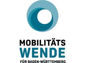 Blauer runder Kreis mit Text darunter: Mobilitätswende für BaWü