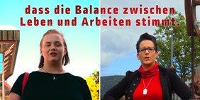 2 Kolleginnen, die zur Kampagne Gewerkschaft schafft ihren Beitrag zum Feierabend abgeben
