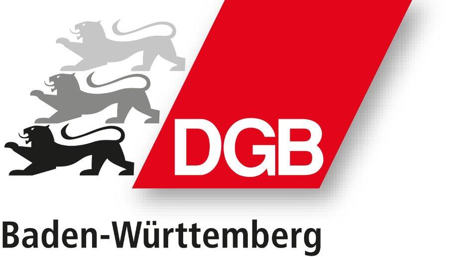 Logo DGB BW, die drei Löwen vor der roten Raute mit Schriftzug DGB