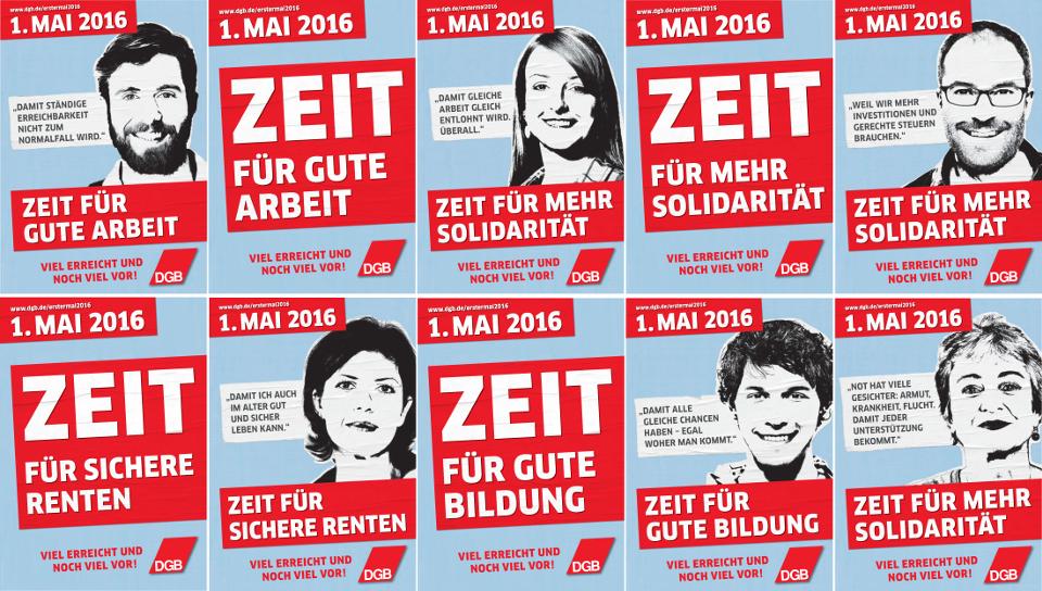 """Die Plakate zum 1. Mai 2016: """"Zeit für mehr Solidarität - Viel erreicht und noch viel vor!"""""""