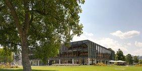 Landtagsgebäude in Stuttgart mit Baum davor