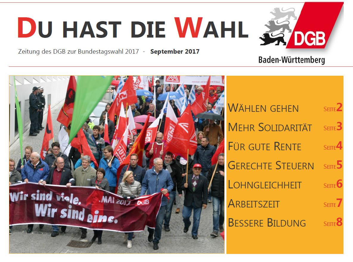 Du hast die Wahl - Zeitung des DGB zur Bundestagswahl 2017