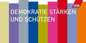 gestreiftes Logo: Demokratie stärken und schützen