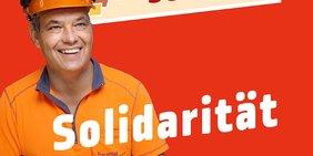 Kollege, der zur Kampagne Gewerkschaft schafft einen Beitrag zur Solidarität gibt